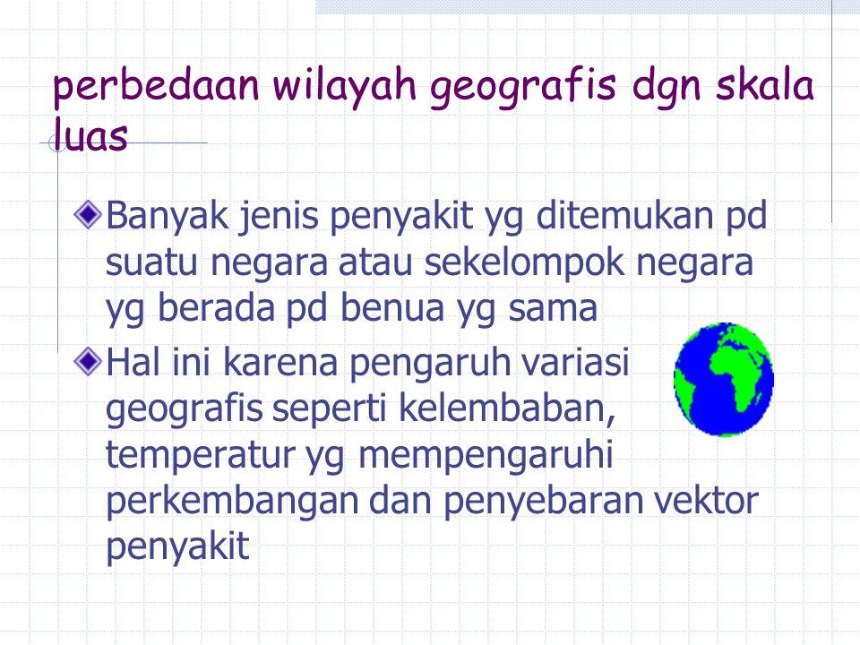 perbedaan wilayah geografis dgn skala luas Banyak jenis penyakit yg ditemukan pd suatu negara atau sekelompok negara yg berada pd benua yg sama Hal in