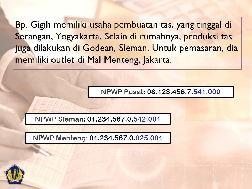 Bp. Gigih memiliki usaha pembuatan tas, yang tinggal di Serangan, Yogyakarta. Selain di rumahnya, produksi tas juga dilakukan di Godean, Sleman. Untuk