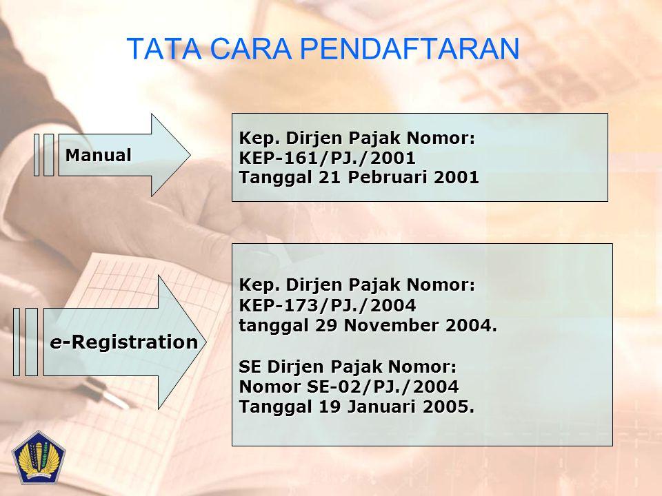 TATA CARA PENDAFTARANManual Kep. Dirjen Pajak Nomor: KEP-161/PJ./2001 Tanggal 21 Pebruari 2001 e-Registration Kep. Dirjen Pajak Nomor: KEP-173/PJ./200