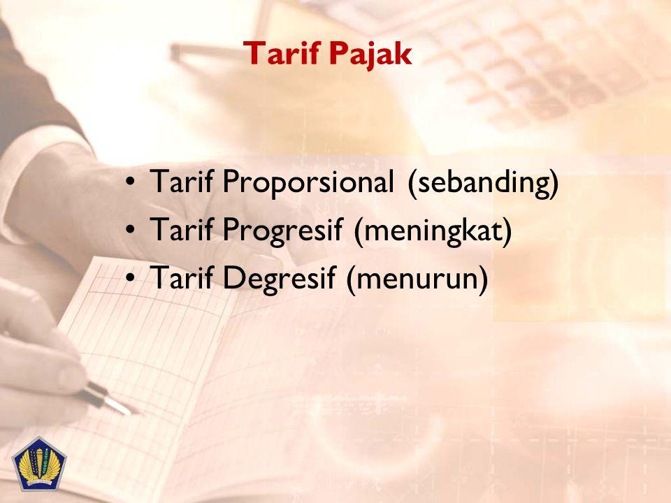 Tarif Pajak Tarif Proporsional (sebanding) Tarif Progresif (meningkat) Tarif Degresif (menurun)
