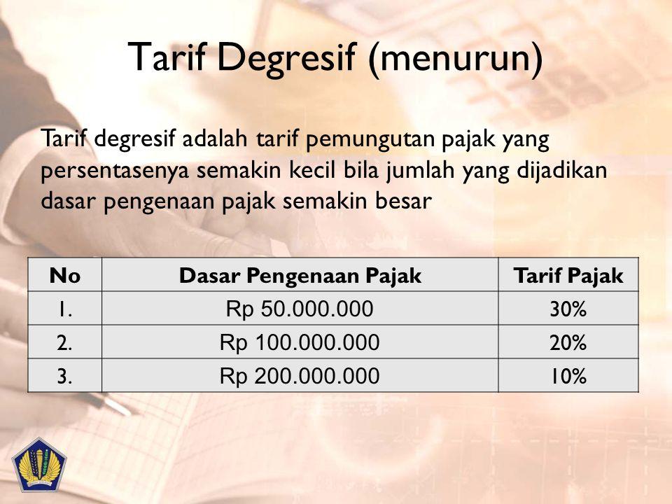 Tarif Degresif (menurun) NoDasar Pengenaan PajakTarif Pajak 1. Rp 50.000.000 30% 2. Rp 100.000.000 20% 3. Rp 200.000.000 10% Tarif degresif adalah tar