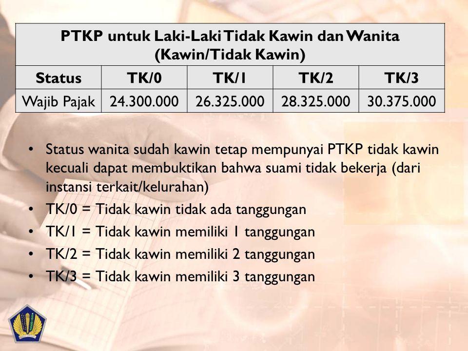 PTKP untuk Laki-Laki Tidak Kawin dan Wanita (Kawin/Tidak Kawin) StatusTK/0TK/1TK/2TK/3 Wajib Pajak24.300.00026.325.00028.325.00030.375.000 Status wani