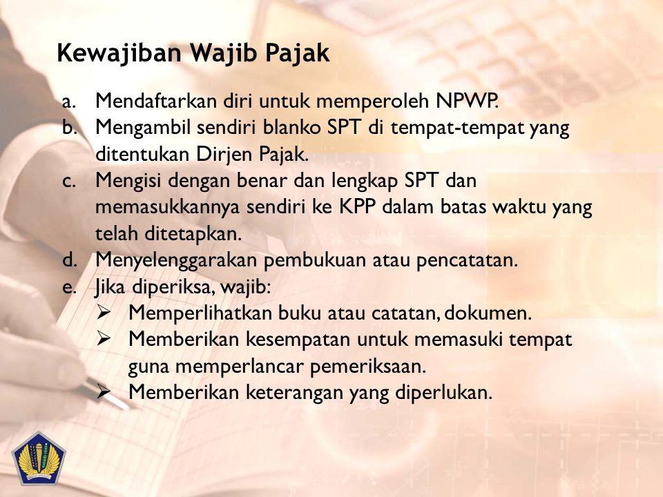 2 digit pertama merupakan identitas wajib pajak, yaitu : –01 sampai dengan 03 = Wajib Pajak Badan –04 dan 06 = Wajib Pajak Pengusaha –05 = Wajib Pajak Karyawan –07, 08 dan 09 = Wajib Pajak Orang Pribadi 6 digit kedua merupakan nomor registrasi / urut yang diberikan Kantor Pusat DJP kepada KPP, contoh : 855.081 1 digit ketiga diberikan untuk KPP sebagai alat pengaman agar tidak terjadi pemalsuan dan kesalahan NPWP, contoh : 4 3 digit keempat adalah kode KPP, contoh : 005 3 digit terakhir adalah status wajib pajak (Tunggal, Pusat atau Cabang), yaitu –000 = Tunggal atau pusat –00, dst = Cabang