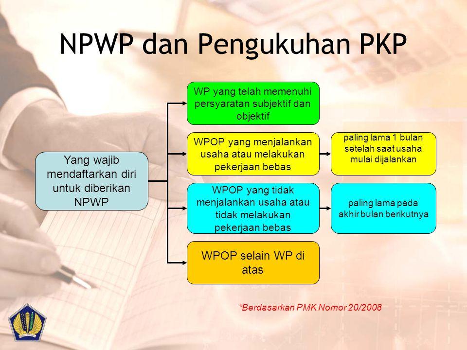 Pengukuhan PKP ( Pasal 2) Yang wajib melaporkan usaha untuk dikukuhkan sbg PKP adalah Pengusaha yang melakukan penyerahan, ( Kecuali Pengusaha Kecil ) Barang Kena Pajak di dalam Daerah Pabean Ekspor Barang Kena Pajak Jasa Kena Pajak di dalam Daerah Pabean