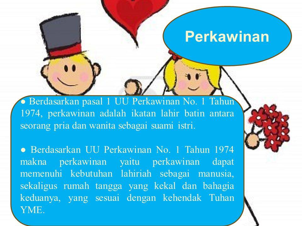 ● Berdasarkan pasal 1 UU Perkawinan No. 1 Tahun 1974, perkawinan adalah ikatan lahir batin antara seorang pria dan wanita sebagai suami istri. ● Berda