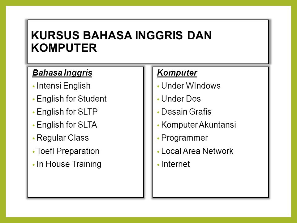 KURSUS BAHASA INGGRIS DAN KOMPUTER Bahasa Inggris Intensi English English for Student English for SLTP English for SLTA Regular Class Toefl Preparatio
