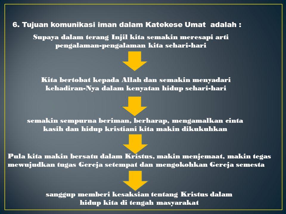 5. Katekese Umat merupakan komunikasi iman dari peserta sebagai sesama dalam iman yang sederajat, yang saling bersaksi tentang iman mereka. Sikap sali