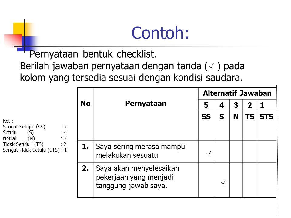 Skala Likert Skala Likert digunakan untuk mengukur sikap, pendapat dan persepsi seseorang atau sekelompok tentang kejadian atau gejala sosial. Pernyat