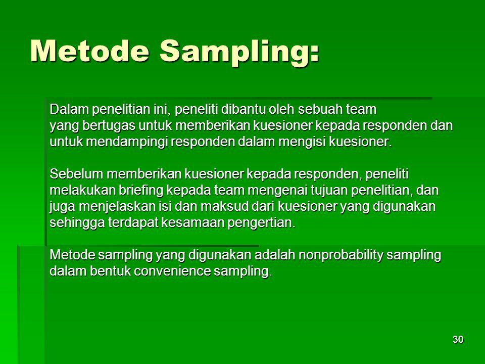 29 Populasi Dan Sampel: Populasi dalam penelitian ini adalah outlet-outlet tradisional di area Jakarta Selatan yang menjadi konsumen Perusahaan Y dan menjual produk X.