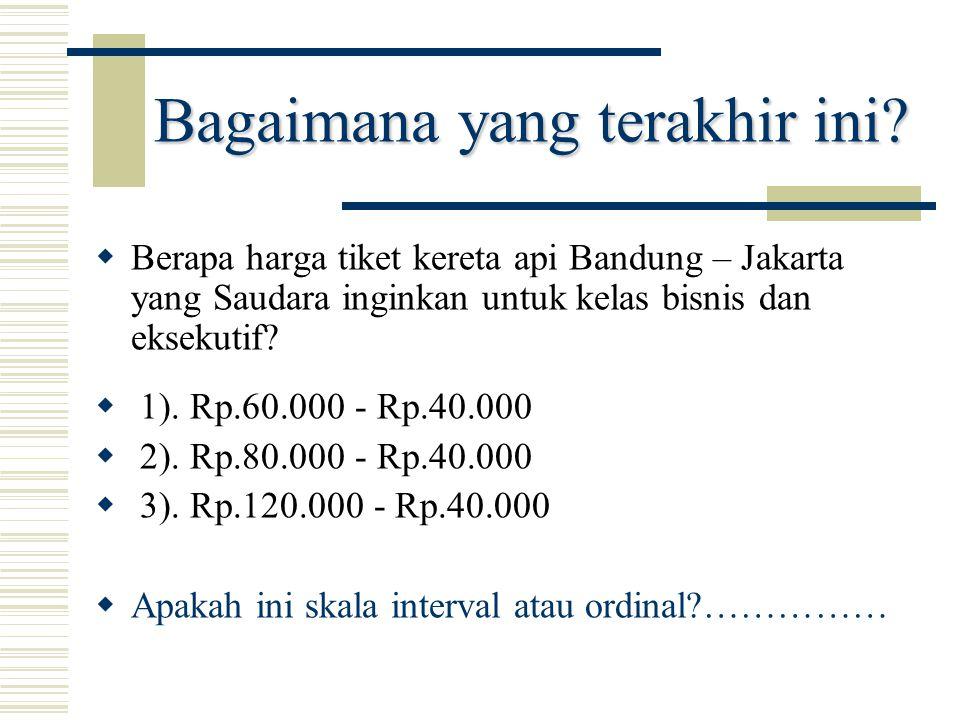 Bagaimana yang terakhir ini?  Berapa harga tiket kereta api Bandung – Jakarta yang Saudara inginkan untuk kelas bisnis dan eksekutif?  1). Rp.60.000