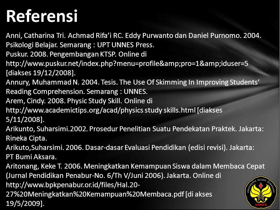 Referensi Anni, Catharina Tri. Achmad Rifa'i RC. Eddy Purwanto dan Daniel Purnomo.