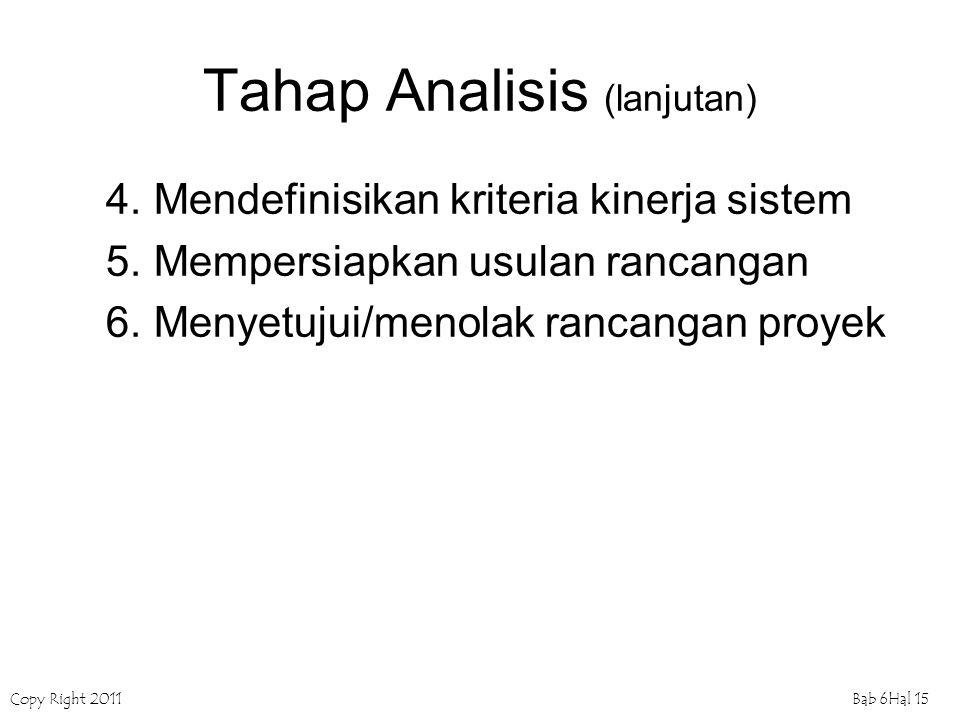 Copy Right 2011Bab 6Hal 15 Tahap Analisis (lanjutan) 4.Mendefinisikan kriteria kinerja sistem 5.Mempersiapkan usulan rancangan 6.Menyetujui/menolak ra