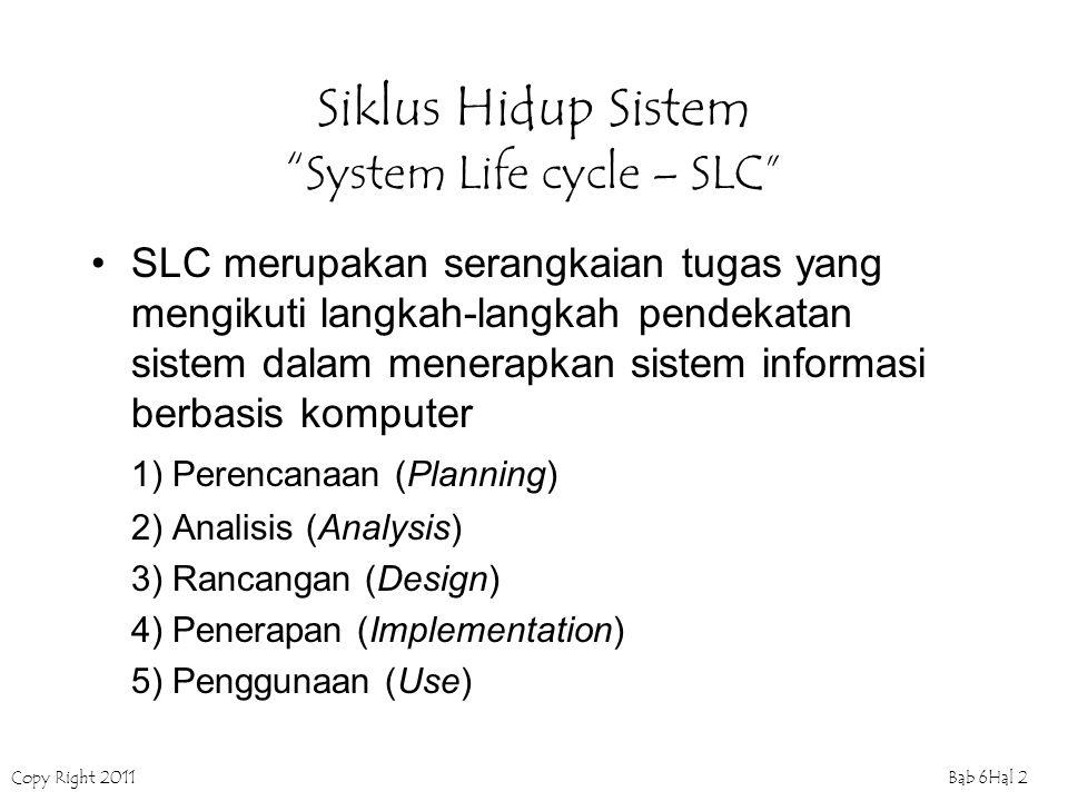 "Copy Right 2011Bab 6Hal 2 Siklus Hidup Sistem "" System Life cycle – SLC"" SLC merupakan serangkaian tugas yang mengikuti langkah-langkah pendekatan sis"