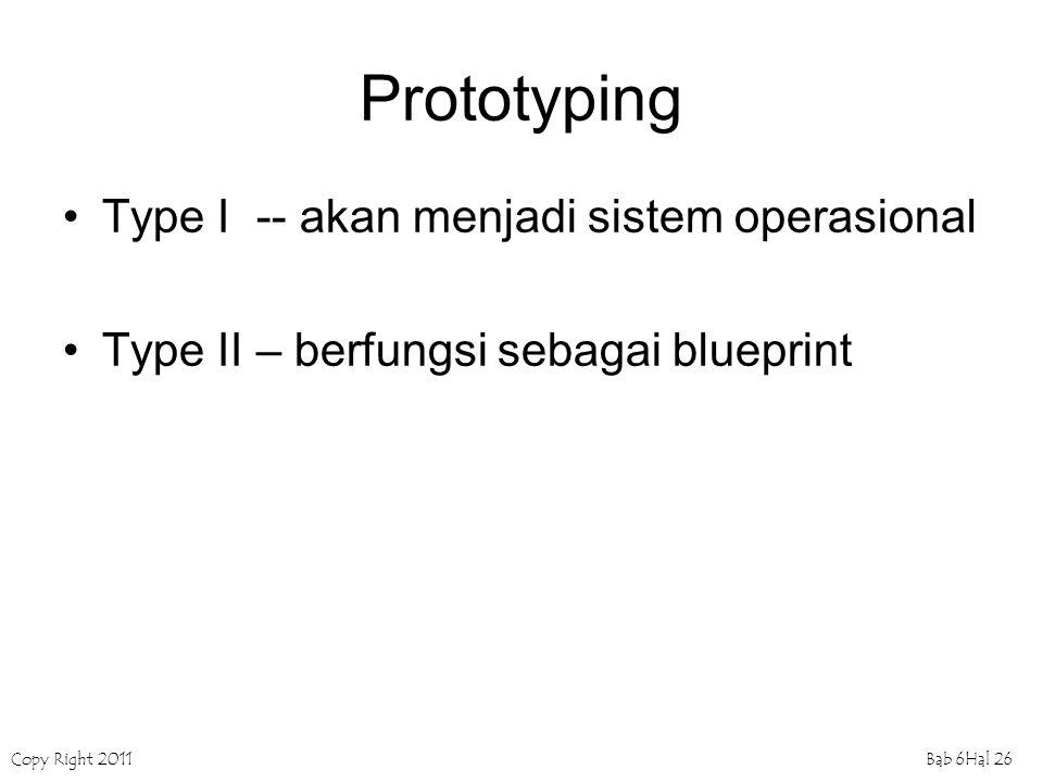 Copy Right 2011Bab 6Hal 26 Prototyping Type I -- akan menjadi sistem operasional Type II – berfungsi sebagai blueprint