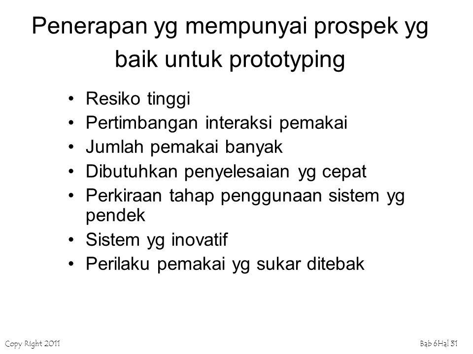 Copy Right 2011Bab 6Hal 31 Penerapan yg mempunyai prospek yg baik untuk prototyping Resiko tinggi Pertimbangan interaksi pemakai Jumlah pemakai banyak