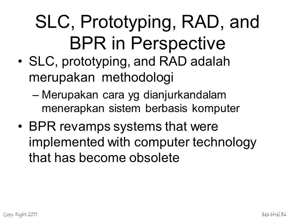 Copy Right 2011Bab 6Hal 34 SLC, Prototyping, RAD, and BPR in Perspective SLC, prototyping, and RAD adalah merupakan methodologi –Merupakan cara yg dia