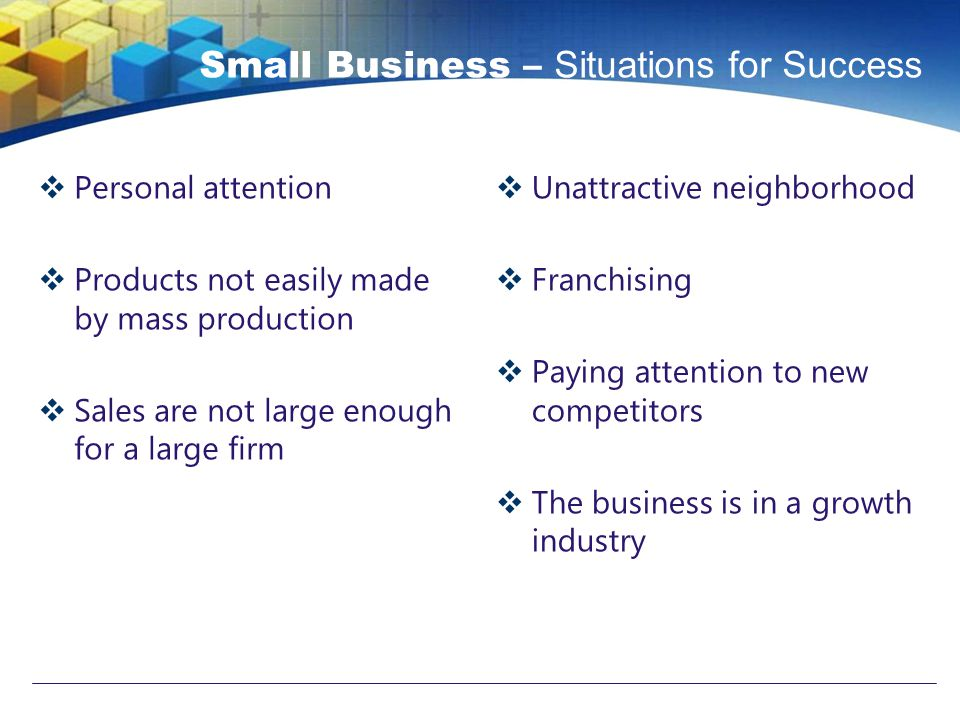 Small Business – Situations for Success  Personal attention  Products not easily made by mass production  Sales are not large enough for a large firm  Unattractive neighborhood  Franchising  Paying attention to new competitors  The business is in a growth industry