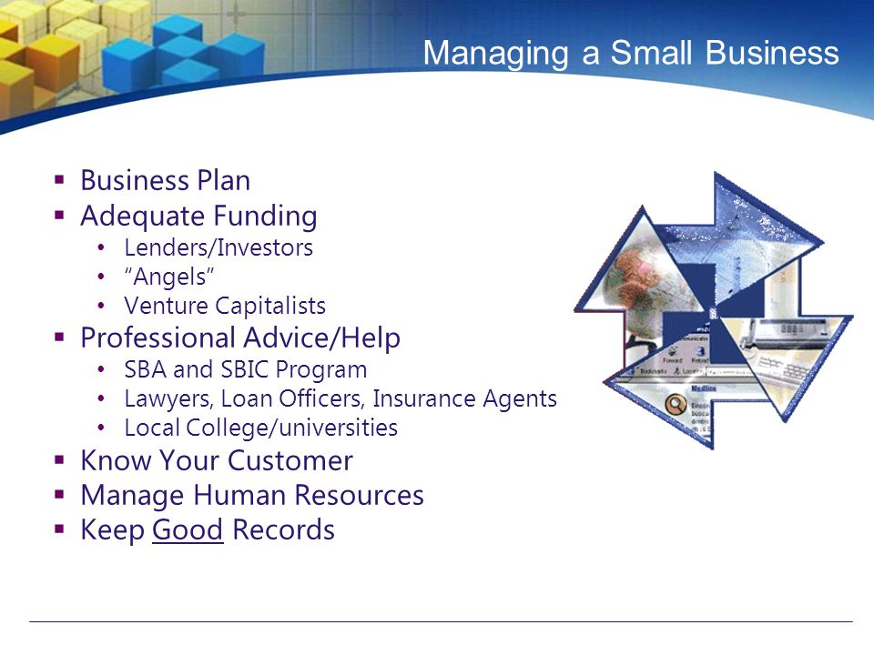 Managing a Small Business  Business Plan  Adequate Funding Lenders/Investors Angels Venture Capitalists  Professional Advice/Help SBA and SBIC Program Lawyers, Loan Officers, Insurance Agents Local College/universities  Know Your Customer  Manage Human Resources  Keep Good Records