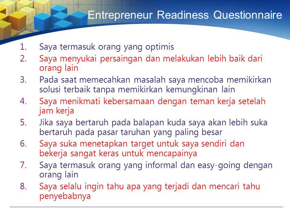 Entrepreneur Readiness Questionnaire 1.Saya termasuk orang yang optimis 2.Saya menyukai persaingan dan melakukan lebih baik dari orang lain 3.Pada saat memecahkan masalah saya mencoba memikirkan solusi terbaik tanpa memikirkan kemungkinan lain 4.Saya menikmati kebersamaan dengan teman kerja setelah jam kerja 5.Jika saya bertaruh pada balapan kuda saya akan lebih suka bertaruh pada pasar taruhan yang paling besar 6.Saya suka menetapkan target untuk saya sendiri dan bekerja sangat keras untuk mencapainya 7.Saya termasuk orang yang informal dan easy-going dengan orang lain 8.Saya selalu ingin tahu apa yang terjadi dan mencari tahu penyebabnya