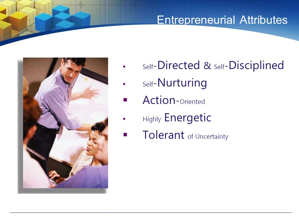 Entrepreneurial Attributes  Self - Directed & Self - Disciplined  Self - Nurturing  Action - Oriented  Highly Energetic  Tolerant of Uncertainty