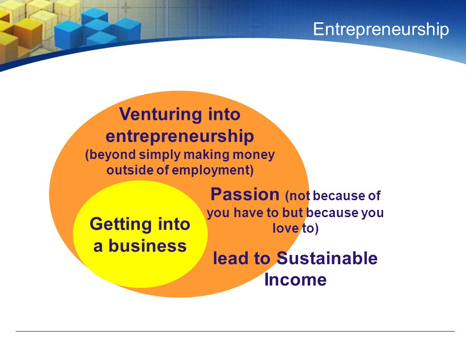 Entrepreneurship Getting into a business Venturing into entrepreneurship (beyond simply making money outside of employment) Passion (not because of you have to but because you love to) lead to Sustainable Income