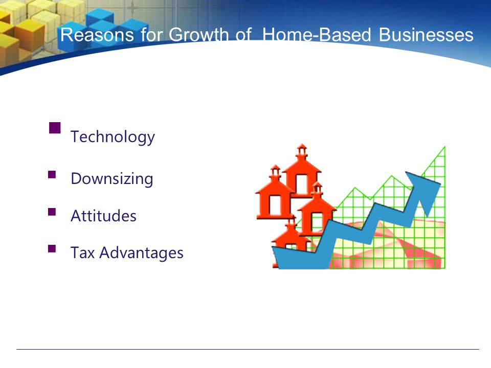 Reasons for Growth of Home-Based Businesses  Technology  Downsizing  Attitudes  Tax Advantages