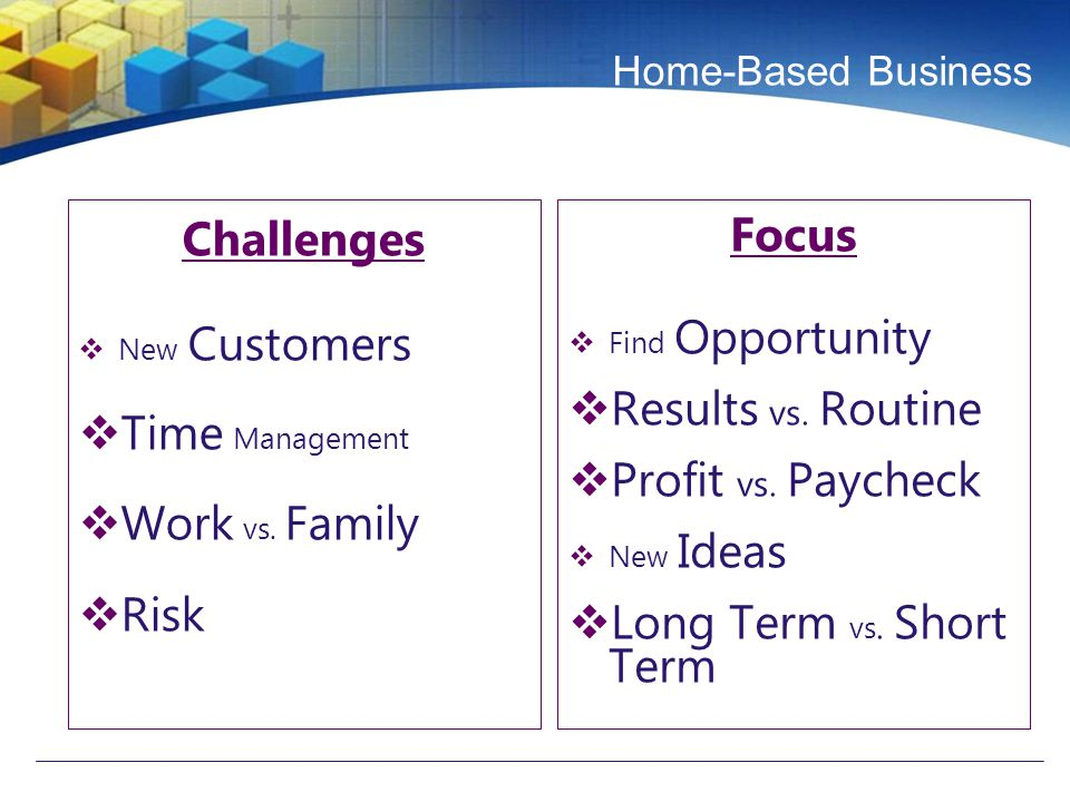 Home-Based Business Challenges  New Customers  Time Management  Work vs.