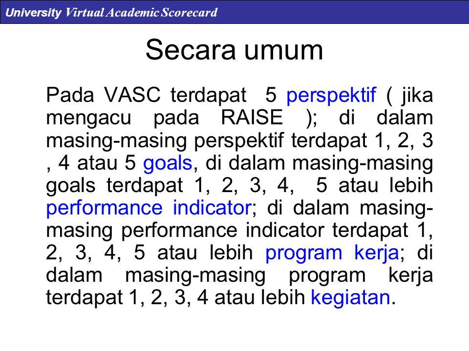 Secara umum Pada VASC terdapat 5 perspektif ( jika mengacu pada RAISE ); di dalam masing-masing perspektif terdapat 1, 2, 3, 4 atau 5 goals, di dalam masing-masing goals terdapat 1, 2, 3, 4, 5 atau lebih performance indicator; di dalam masing- masing performance indicator terdapat 1, 2, 3, 4, 5 atau lebih program kerja; di dalam masing-masing program kerja terdapat 1, 2, 3, 4 atau lebih kegiatan.