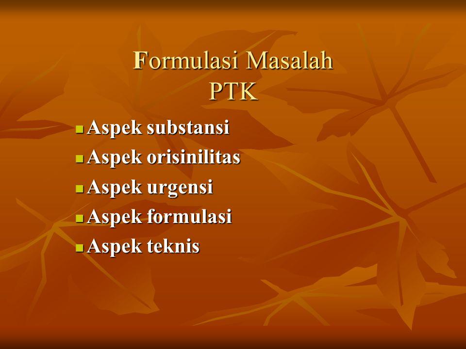 Formulasi Masalah PTK Aspek substansi Aspek substansi Aspek orisinilitas Aspek orisinilitas Aspek urgensi Aspek urgensi Aspek formulasi Aspek formulas