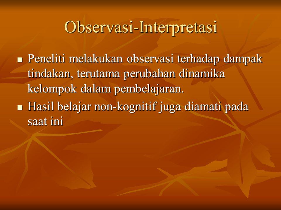 Observasi-Interpretasi Peneliti melakukan observasi terhadap dampak tindakan, terutama perubahan dinamika kelompok dalam pembelajaran. Peneliti melaku