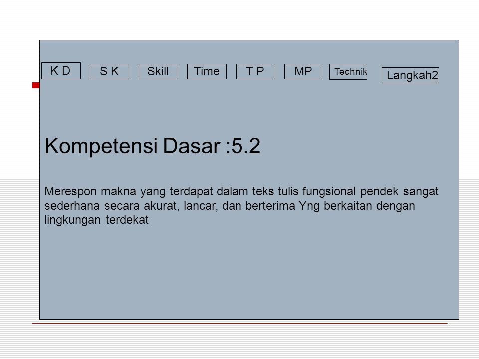 Kompetensi Dasar :5.2 Merespon makna yang terdapat dalam teks tulis fungsional pendek sangat sederhana secara akurat, lancar, dan berterima Yng berkai