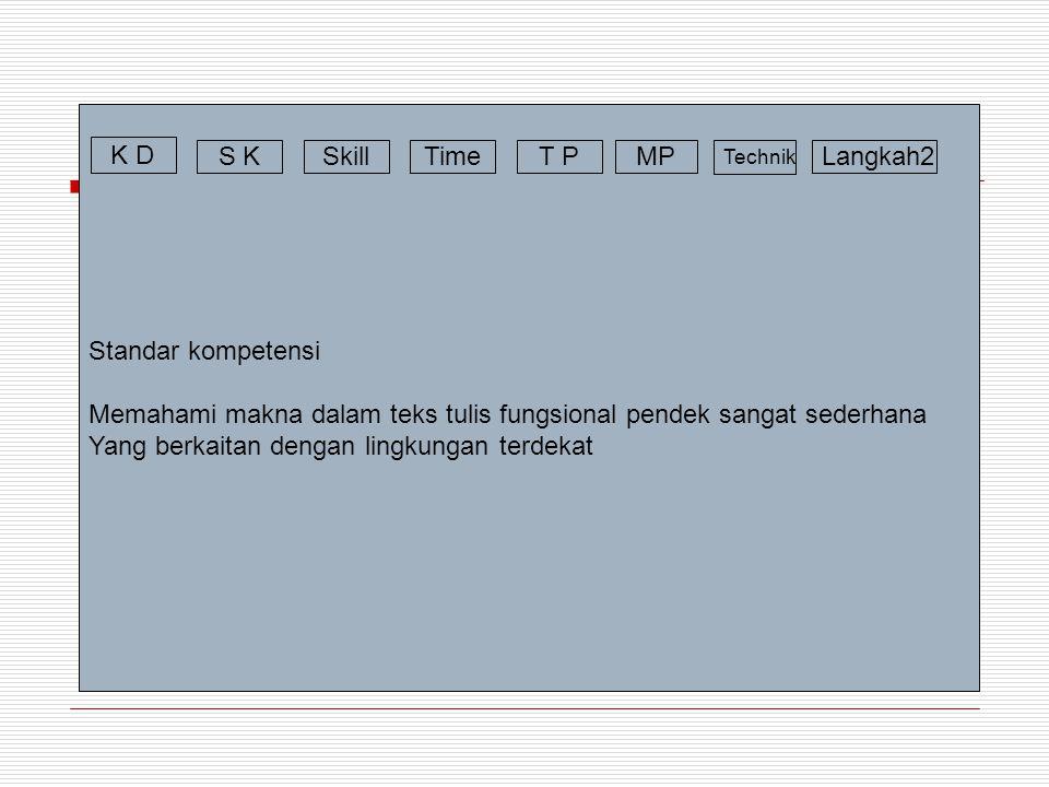 Standar kompetensi Memahami makna dalam teks tulis fungsional pendek sangat sederhana Yang berkaitan dengan lingkungan terdekat K D S KSkillTimeT PMP