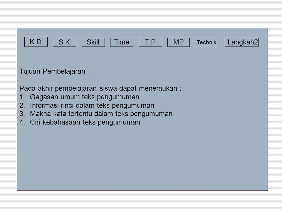 Materi Pembelajaran : Announcement All students of Class Seven One, are supposed to gather in the school yard on Monday August 12 th, 2006 at 10 a.m.