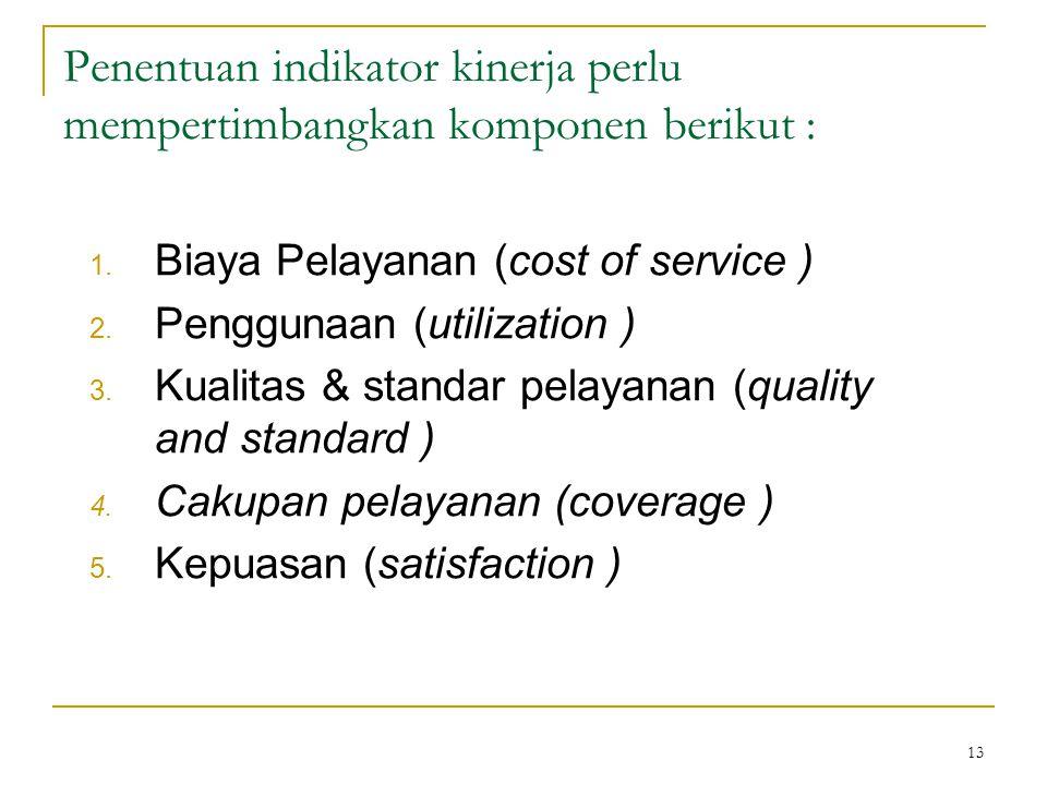 13 Penentuan indikator kinerja perlu mempertimbangkan komponen berikut : 1. Biaya Pelayanan (cost of service ) 2. Penggunaan (utilization ) 3. Kualita