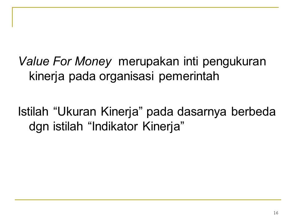 """16 Value For Money merupakan inti pengukuran kinerja pada organisasi pemerintah Istilah """"Ukuran Kinerja"""" pada dasarnya berbeda dgn istilah """"Indikator"""