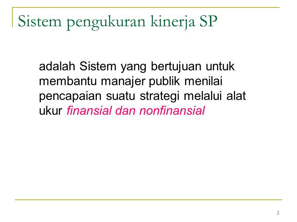 2 Sistem pengukuran kinerja SP adalah Sistem yang bertujuan untuk membantu manajer publik menilai pencapaian suatu strategi melalui alat ukur finansia