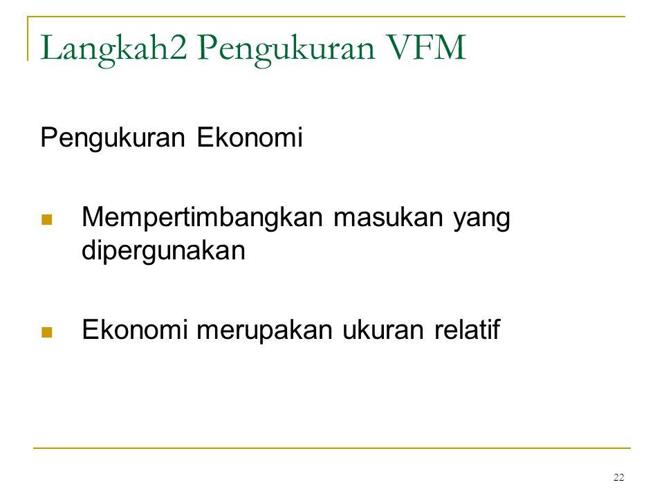 22 Langkah2 Pengukuran VFM Pengukuran Ekonomi Mempertimbangkan masukan yang dipergunakan Ekonomi merupakan ukuran relatif