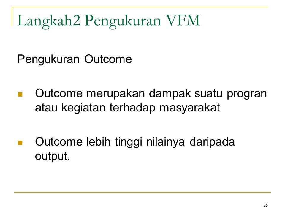 25 Langkah2 Pengukuran VFM Pengukuran Outcome Outcome merupakan dampak suatu progran atau kegiatan terhadap masyarakat Outcome lebih tinggi nilainya d