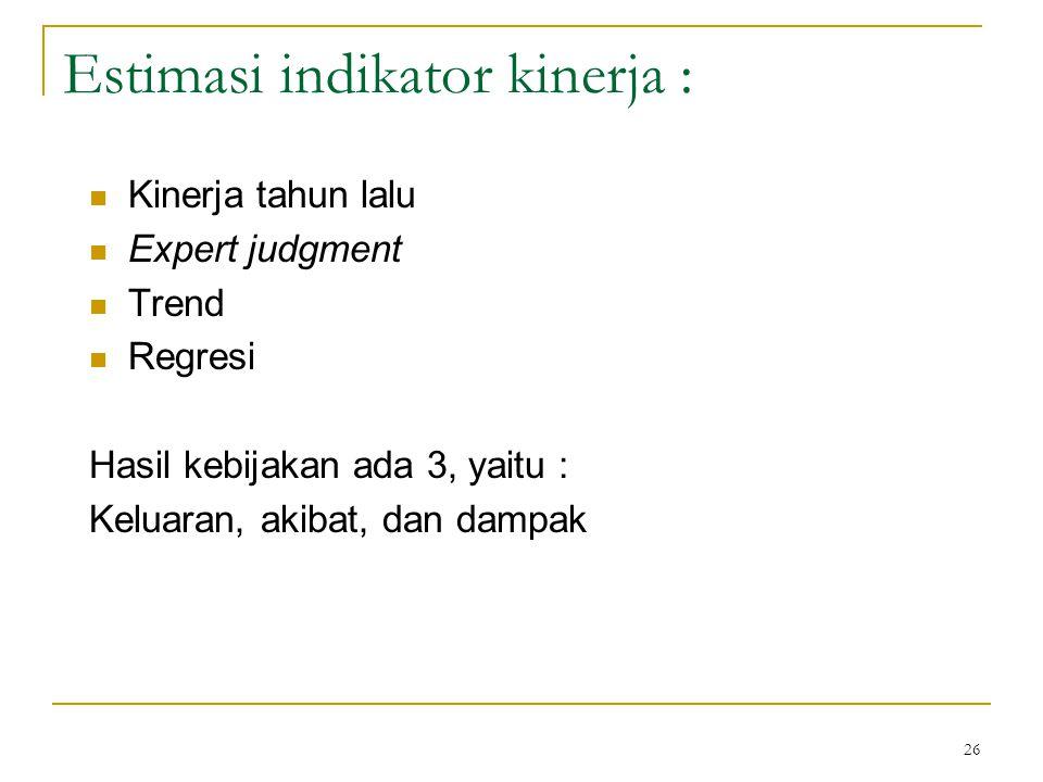 26 Estimasi indikator kinerja : Kinerja tahun lalu Expert judgment Trend Regresi Hasil kebijakan ada 3, yaitu : Keluaran, akibat, dan dampak