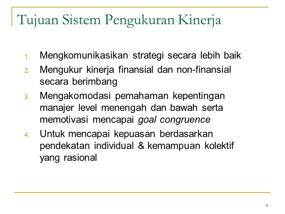 4 Tujuan Sistem Pengukuran Kinerja 1. Mengkomunikasikan strategi secara lebih baik 2. Mengukur kinerja finansial dan non-finansial secara berimbang 3.
