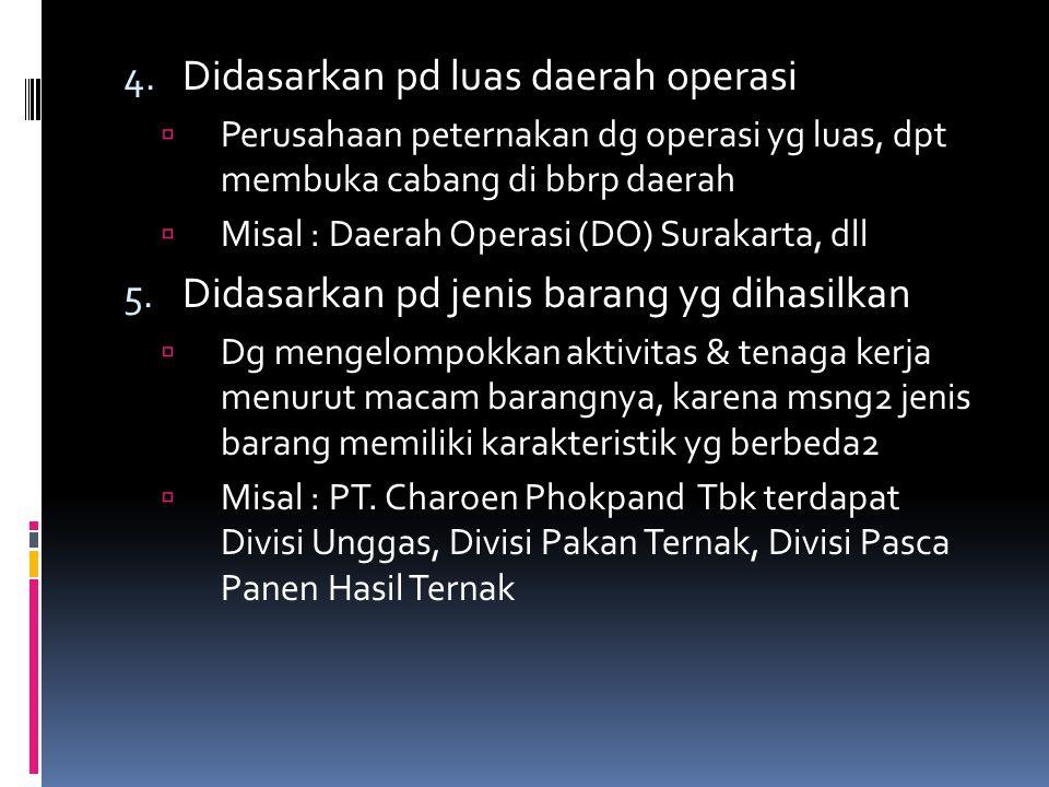 4. Didasarkan pd luas daerah operasi  Perusahaan peternakan dg operasi yg luas, dpt membuka cabang di bbrp daerah  Misal : Daerah Operasi (DO) Surak
