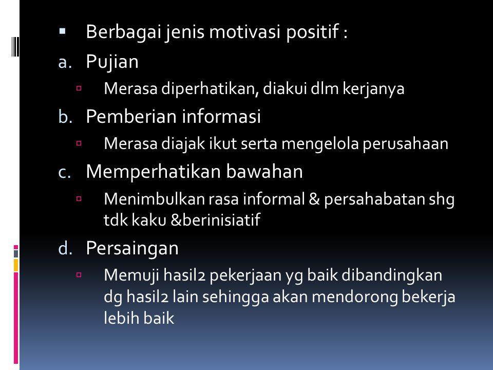  Berbagai jenis motivasi positif : a.Pujian  Merasa diperhatikan, diakui dlm kerjanya b.