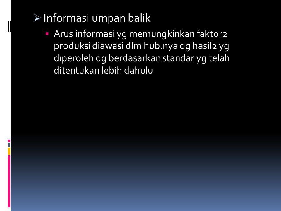  Informasi umpan balik  Arus informasi yg memungkinkan faktor2 produksi diawasi dlm hub.nya dg hasil2 yg diperoleh dg berdasarkan standar yg telah ditentukan lebih dahulu