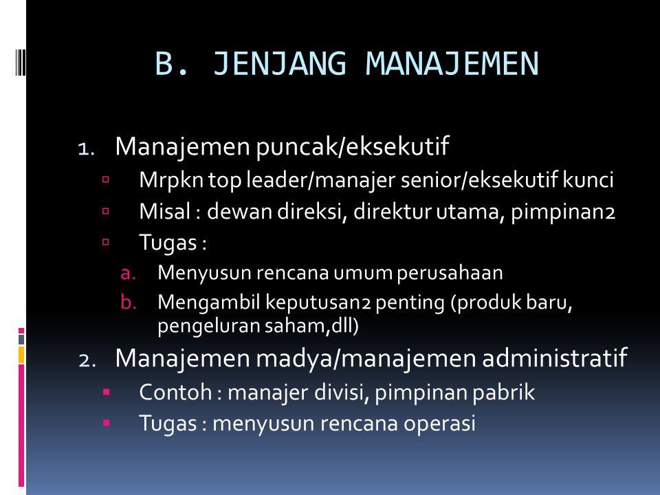 B.JENJANG MANAJEMEN 1.