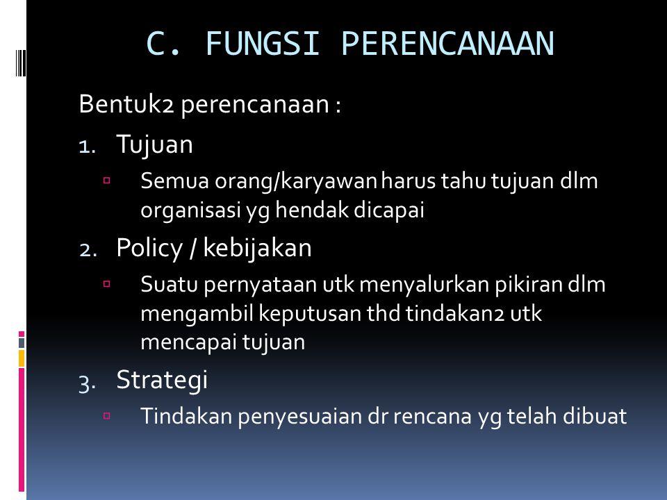 C.FUNGSI PERENCANAAN Bentuk2 perencanaan : 1.