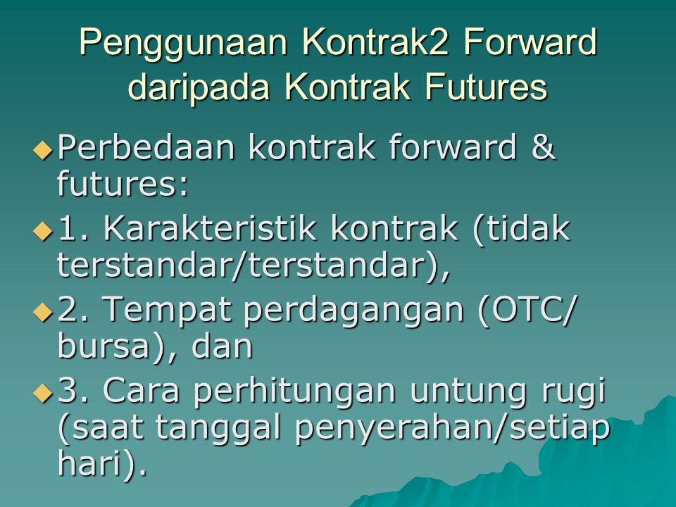 Penggunaan Kontrak2 Forward daripada Kontrak Futures  Perbedaan kontrak forward & futures:  1.