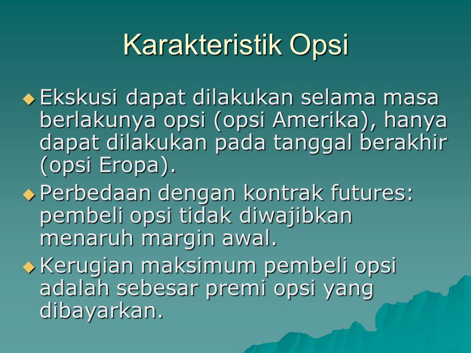 Karakteristik Opsi  Ekskusi dapat dilakukan selama masa berlakunya opsi (opsi Amerika), hanya dapat dilakukan pada tanggal berakhir (opsi Eropa).