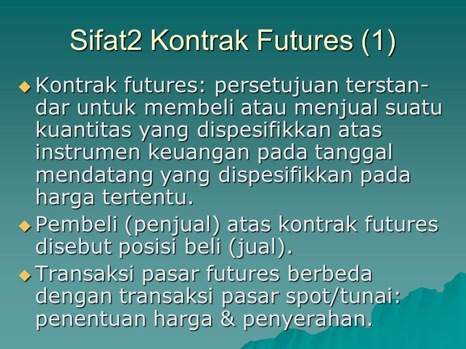 Sifat2 Kontrak Futures (2)  Kontrak futures diperdagangkan di bursa.