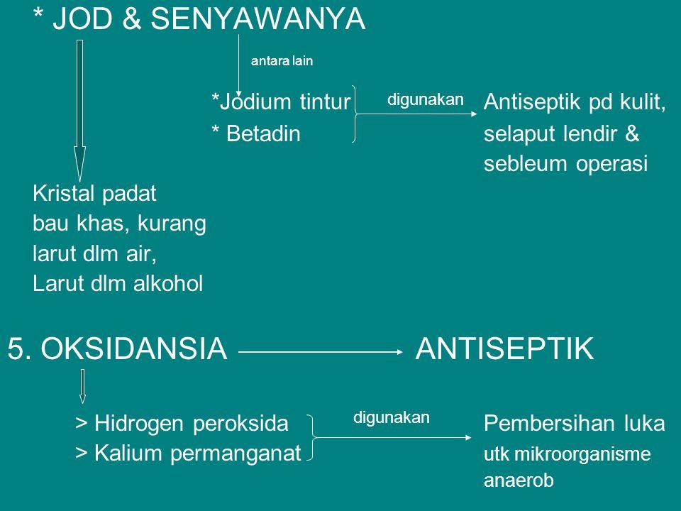 * JOD & SENYAWANYA *Jodium tinturAntiseptik pd kulit, * Betadinselaput lendir & sebleum operasi Kristal padat bau khas, kurang larut dlm air, Larut dl