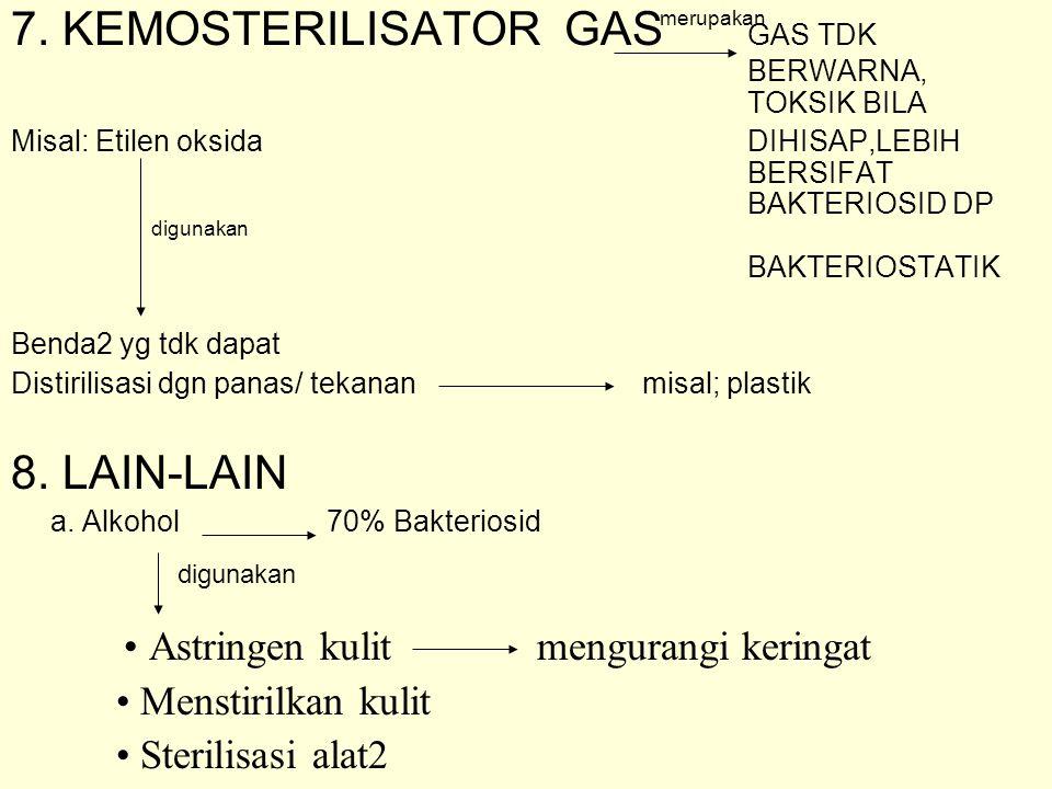 7. KEMOSTERILISATOR GAS GAS TDK BERWARNA, TOKSIK BILA Misal: Etilen oksida DIHISAP,LEBIH BERSIFAT BAKTERIOSID DP BAKTERIOSTATIK Benda2 yg tdk dapat Di